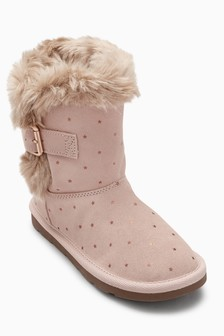 Faux Fur Trim Pull-On Boots (Younger Girls)