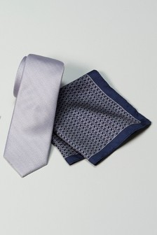 Silk Tie With Pocket Square Set