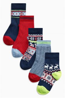 Fairisle Pattern Socks Five Pack (Younger Boys)