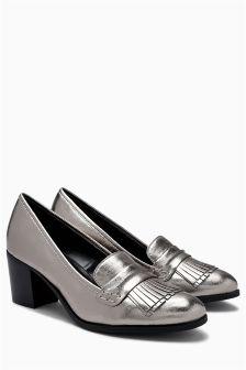 Block Heel Fringe Loafers
