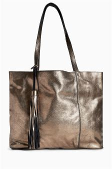 Leather Metallic Shopper