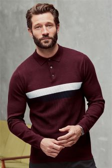 Long Sleeve Chest Stripe Polo