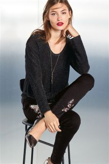 Sequin Embroidered Bird Skinny Jeans