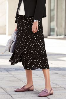 Spot Print Button Through Midi Skirt