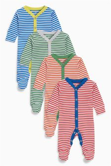 Stripe Sleepsuits Four Pack (0mths-2yrs)