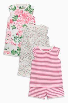 Набор пижам с шортами и цветочным рисунком (3 пары) (9 мес. - 8 лет)