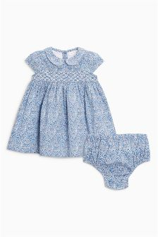 Smocked Dress And Knickers (0mths-2yrs)