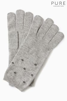 Pure Collection Grey Sparkle Trim Glove