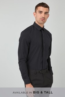 Textured Concealed Placket Shirt