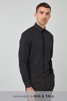 Teksturowana koszula z zamaskowanymi guzikami