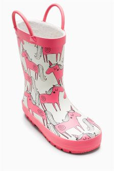 Unicorn Print Wellies (Younger Girls)
