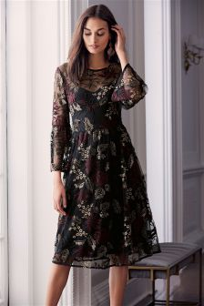 Embroidered Flute Sleeve Dress