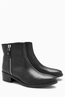 Leather Casual Zip Detail Boots