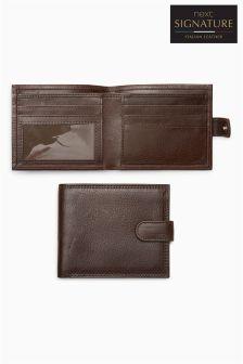 Signature Italian Leather Popper Wallet