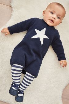 Knitted Dress And Ecru Tights (0mths-2yrs)