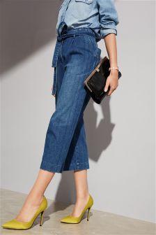 Tie Waist Cropped Wide Leg Jeans