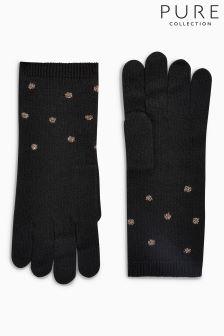 Pure Collection Black Sparkle Trim Glove