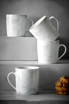 Set Of 4 Marble Effect Mugs