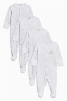 Cloud Print Sleepsuits Four Pack (0mths-2yrs)