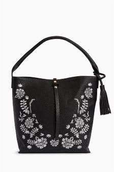 Embroidered Hobo Bag