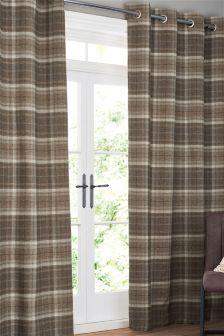 Burford Woven Check Eyelet Curtains