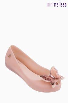 Różowe, matowe balerinki Mini Melissa Ultragirl z motylem