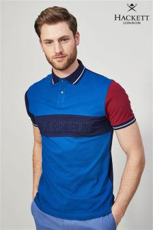 Hackett Blue Chest Panel Polo