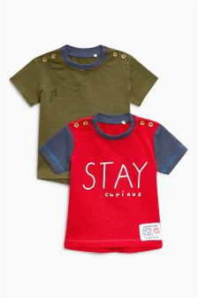 Slogan T-Shirts Two Pack (0mths-2yrs)