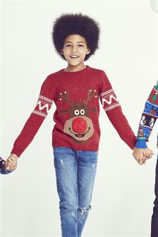 Boys Reindeer Christmas Jumper (3-16yrs)
