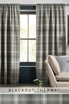 Grey Cosy Check Multi Header Blackout Curtains