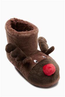 Reindeer Slipper Boots (Older Boys)