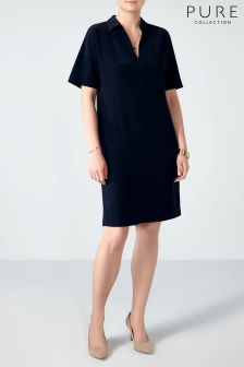 Pure Collection Blue Silk Tunic Dress