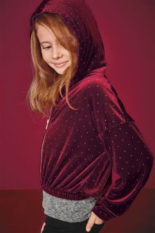 Studded Velour Hooded Jacket (3-16yrs)