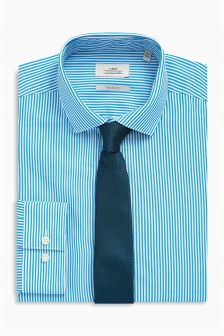 Stripe Slim Fit Shirt With Tie Set