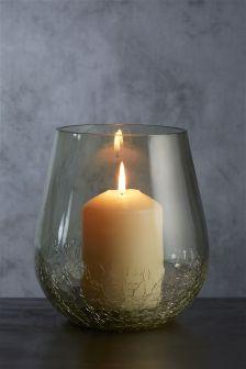 Green Crackle Hurricane Vase