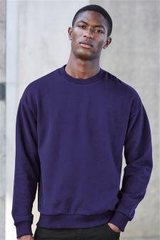 Sueded Crew Neck Sweatshirt