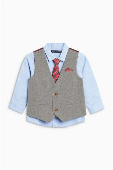Waistcoat, Shirt And Tie Set (3mths-6yrs)