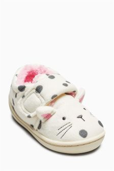 Cat Hard Sole Slippers (Younger Girls)