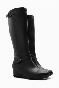 Buckle Detail Wedge Long Boots