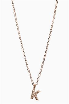 Rose Gold Plated Sparkle Initial Necklace