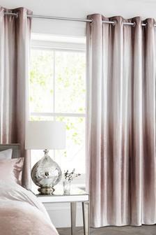 Ombre Velvet Blackout Lined Eyelet Curtains
