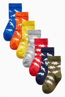 Bright Dino Socks Seven Pack (Younger Boys)