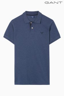 Gant Blue Contrast Collar Pique Rugger Top
