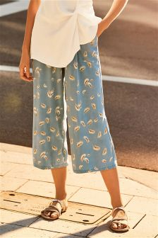 Jersey Feather Print Culottes