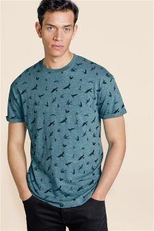 T-Shirt mit Vogelmuster