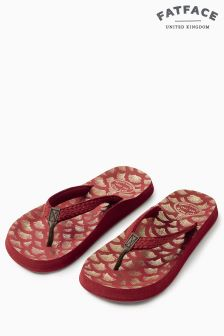 Fat Face Burgundy Bay Abstract Shell Flip Flop