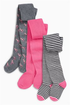 Stripe Flamingo Tights Three Pack (0mths-6yrs)