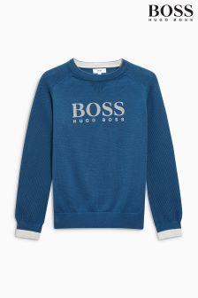 Granatowy dzianinowy sweter z okrągłym dekoltem Hugo Boss