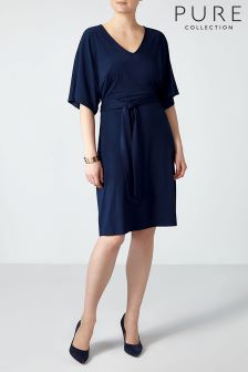 Pure Collection Navy Kimono Sleeve Jersey Dress
