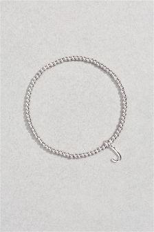 Initial Charm Beady Bracelet